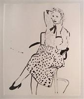 celia with polka dot skirt by david hockney