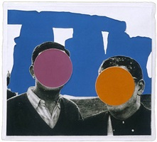 stonehenge (with two persons) blue by john baldessari