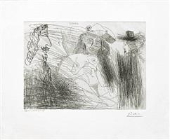 peintre, modele au chapeau de paille, et gentilhomme, from the 347 series, 23 august, 1968, mougins by pablo picasso