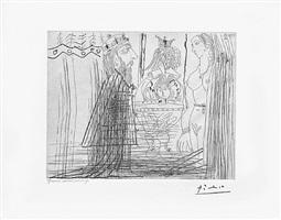 scene biblique (david et bethsabee) avec bouffon au chapeau a deux cornes, from the 347 series, 25 september, 1968, mougins by pablo picasso
