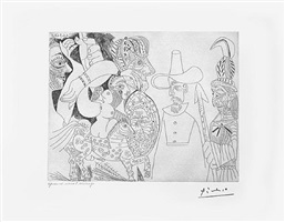 television: quaker, peau-rouge, ecuyere, from the 347 series, 26 september, 1968, mougins by pablo picasso