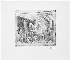 rapt, avec celestine, ruffian, fille et seigneur avec son valet, from the 347 series, 17 may, 1968, mougins by pablo picasso