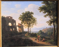 sunlit ruin landscape with a family on a way and shepherd with sheeps by johann nepomuk schödlberger