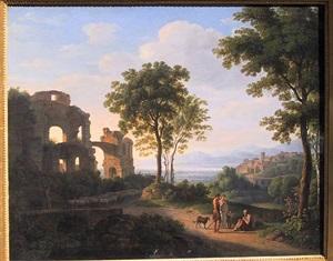 sunlit ruin landscape with a family on a way and shepherd with sheeps by johann nepomuk schödlberger