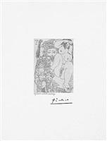 jeune courtisane avec un gentilhomme, un sculpteur et un viellard alleche, from the 347 series, 25 june, 1968, mougins by pablo picasso