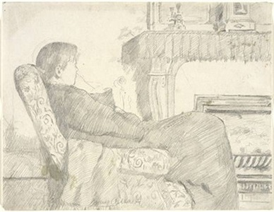 <b>mary cassatt</b><br>before the fireplace (sold)