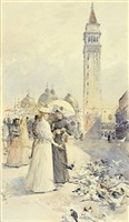<b>childe hassam</b><br>feeding pigeons in the piazza (sold)