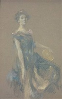 <b>thomas wilmer dewing </b><br>the tambourine (sold)