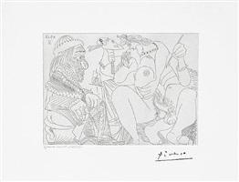 raphael et la fornarina xvi: le pape est toujours sur son pot songeur, from the 347 series, 4 september, 1968, mougins by pablo picasso