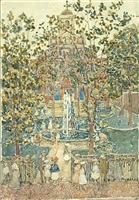 <b>maurice brazil prendergast </b><br>the bartol church (the fountain) (sold)