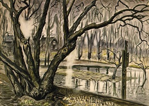 spring landscape with trees and pond by charles ephraim burchfield