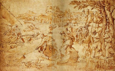 an extensive landscape with figures fishing in a bay by battista franco