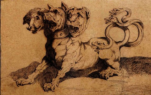 cerberus, guardian of the underworld by luigi sabatelli the elder