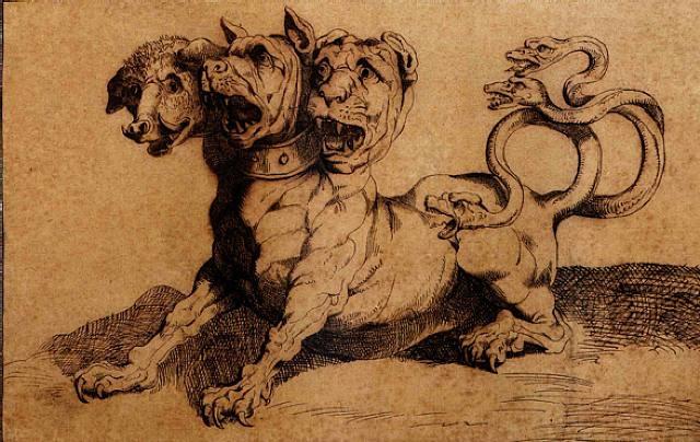 cerberus, guardian of the underworld by luigi sabatelli the elder