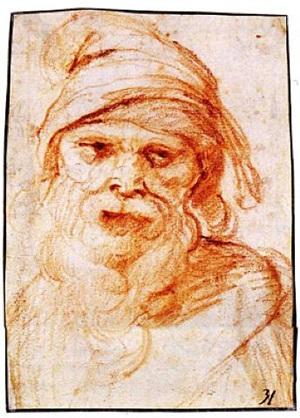 the head of a bearded man wearing a turban by giuseppe cesari