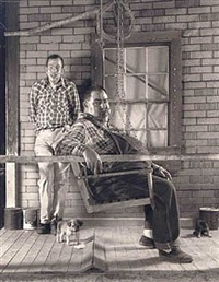 brice and crow on porch by shelby lee adams