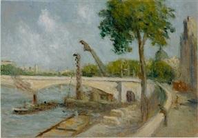 le pont du carrousel et le quai voltaire (the pont du carrousel and the quai voltaire, paris) by maximilien luce