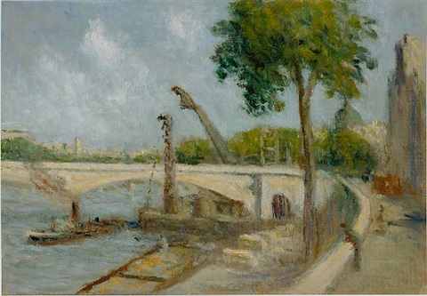 le pont du carrousel et le quai voltaire (the pont du carrousel and the quai voltaire, paris) by maximilien luce