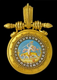 superb locket pendant in the archaeological style by eugene fontenay