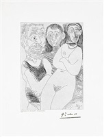 prostitutee et marins, from the 347 series, 19 june, 1968, mougins by pablo picasso