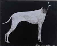 large dog (graphite on silver) by joe andoe
