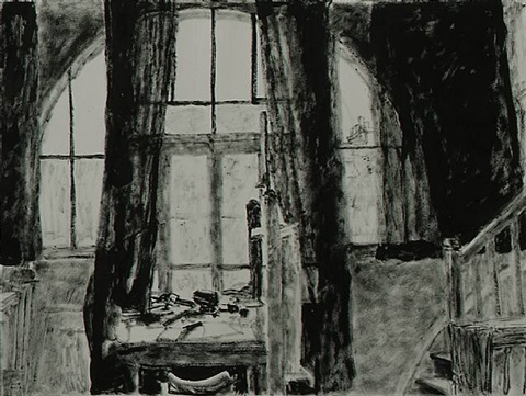 studio windows with drawn curtains by avigdor arikha