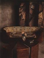 lurcat, sofa, and screen, maison de verre, paris, 1982 by evelyn hofer