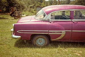 magenta car, havana, alabama, 1976 by william christenberry