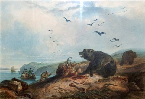 "hunting the grizzly bear"" (chasse au grizzly bear) by karl bodmer"
