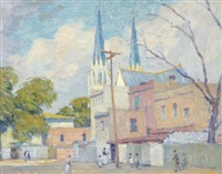 savannah scene with a cathedral in the background (+ magnolia gardens, south carolina, verso) by william chadwick