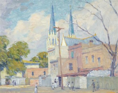 savannah scene with a cathedral in the background magnolia gardens south carolina verso by william chadwick