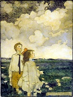 two children watching the clouds in a field by elizabeth shippen green