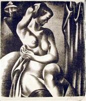 three-quarter view of nude bathing seated near lamp by jan matulka