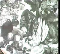stilleben mit blumen, weinlaub, obst und toten vogeln. by fleischmann