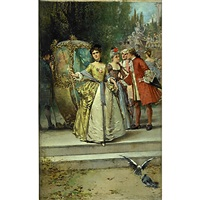 an outdoor scene with figures in aristocratic dress by edward percy moran