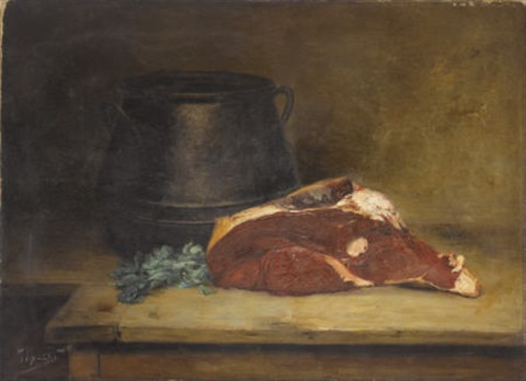 still life with meat, parsley and jug by jean baptiste siméon chardin