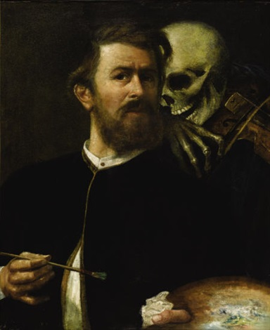 self-portrait with death playing the fiddle by arnold böcklin the elder