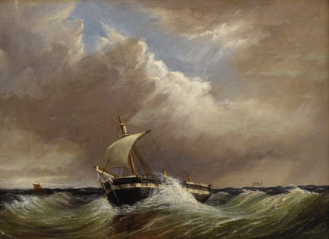 untitled seascape with single mast fishing vessel by thomas h hair