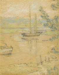 sailboat on the water, connecticut coast by elmer livingston macrae