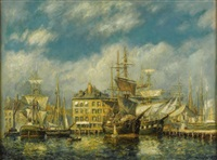 old east india docks by frederick leo hunter