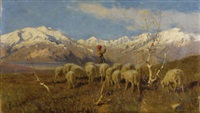 a herder and flock grazing in the alps by achille tominetti