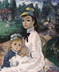 mother and child in the park by m. alleroux
