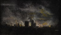 skyline at night by arthur versey