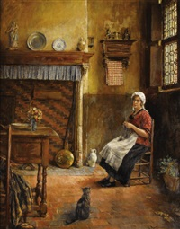 domestic interior with woman knitting by victor anthonis