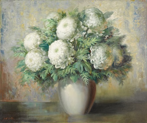 still life vase with chrysanthemums by john william orth