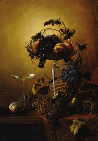 fruit still life in crystal compote by henry bayly garling
