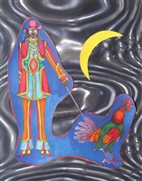man walking a rooster by a crested moon by richard lindner