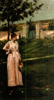 woman in a landscape by charles stanley reinhart