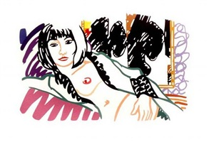 monica nude with motherwell by tom wesselmann