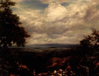 shepherds on a hilltop in surrey by william linnell
